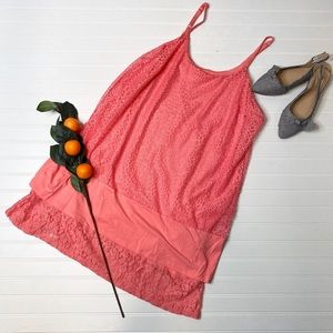 Kenar Coral Lace Slip Dress
